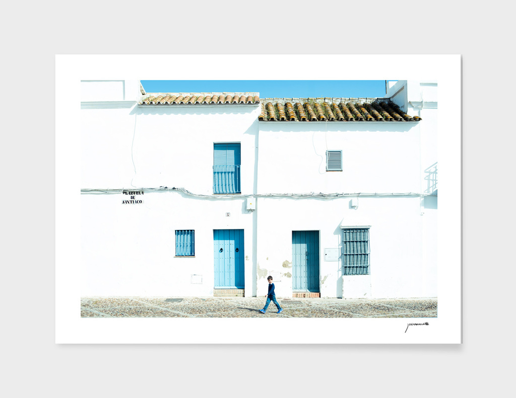 White and blue town