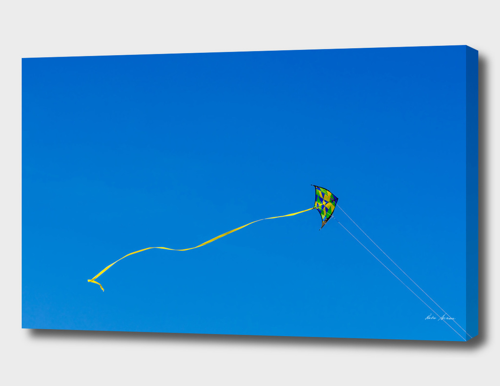 Colorful Kite Flying In Summer Blue Sky