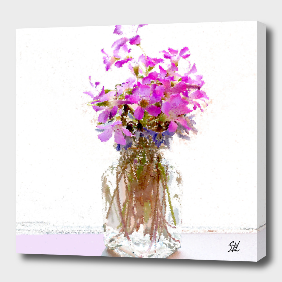 Purple Wood Sorrel Flowers In Mini Glass Vase
