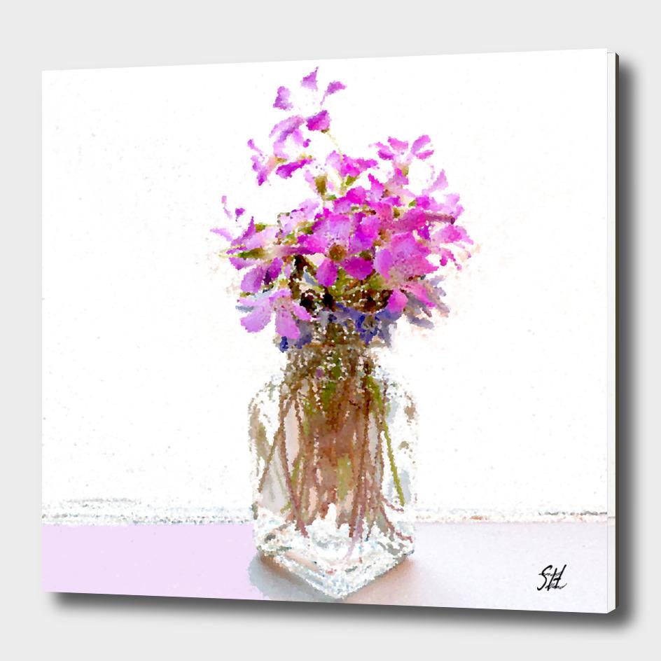 Purple Wood Sorrel Flowers In Mini Glass Vase