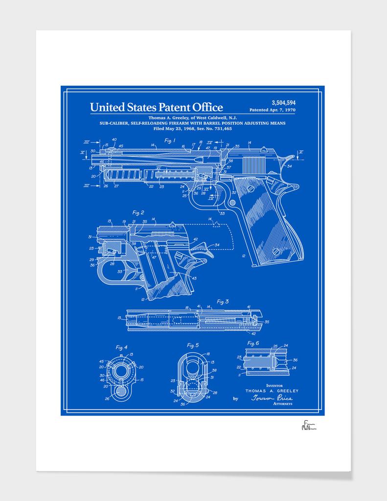 Colt 1911 Handgun Patent - Blueprint
