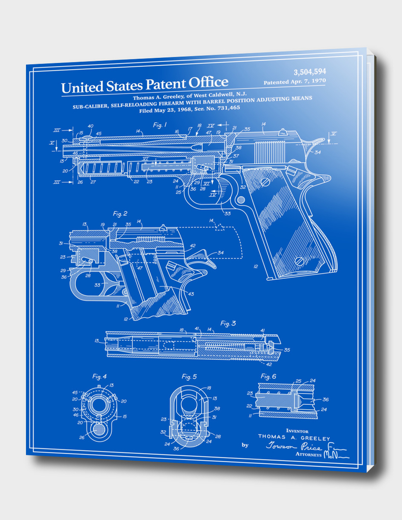 Colt 1911 Handgun Patent - Blueprint