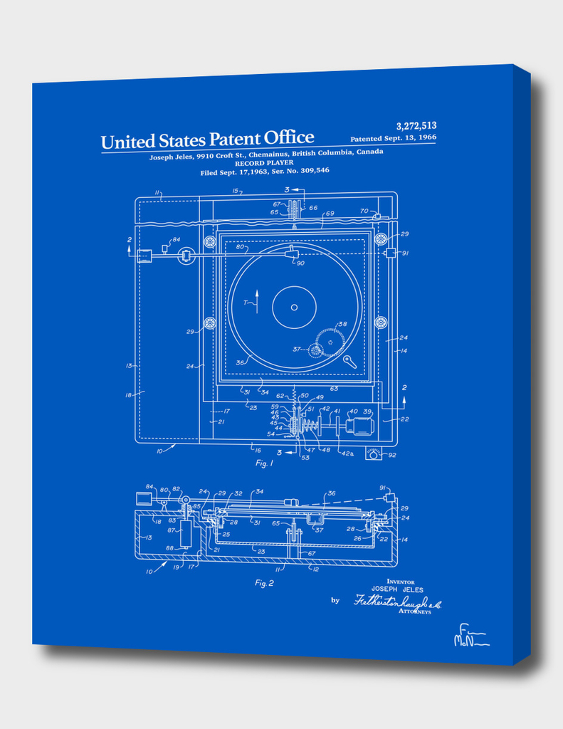 Record Player Patent - Blueprint