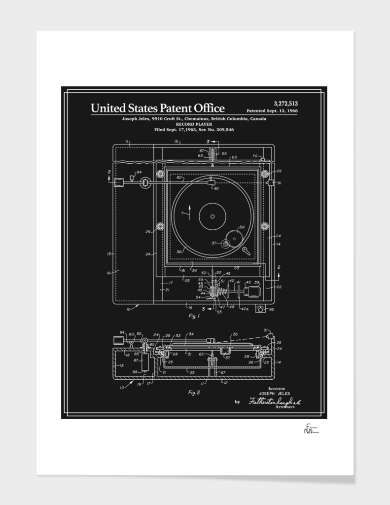Record Player Patent - Black