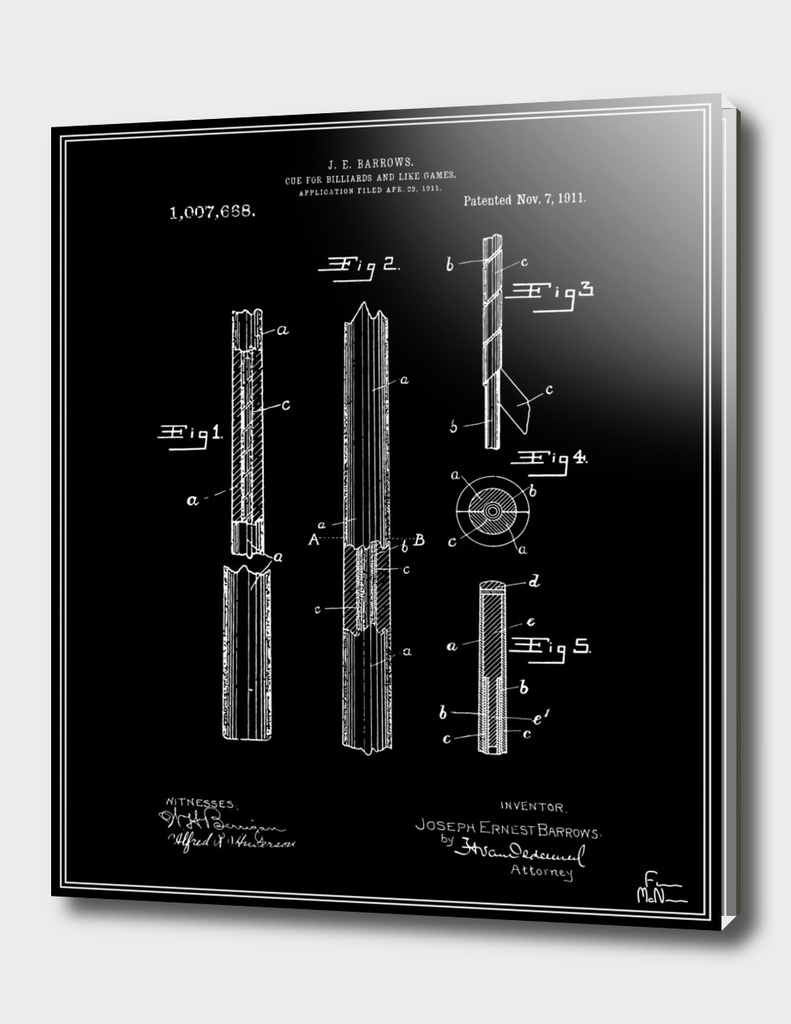 Pool Cue Patent - Black