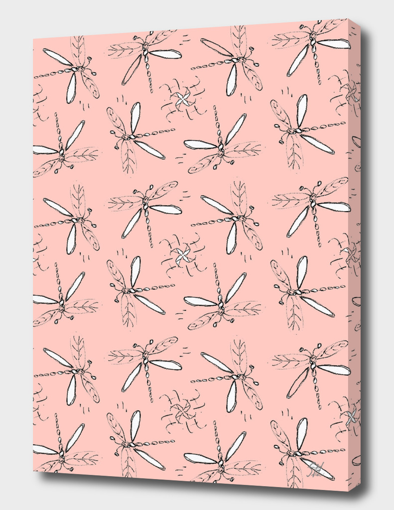 Dragonfly Sketches Pattern On Coral Back