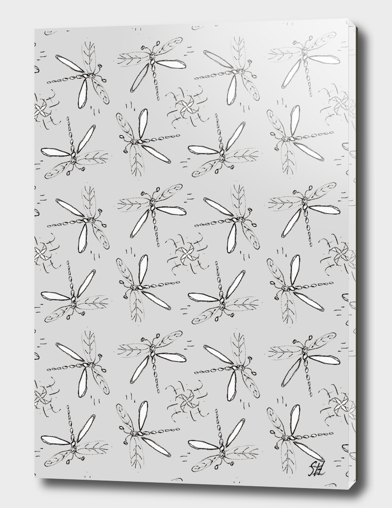Dragonfly Sketches Pattern On Gray Back