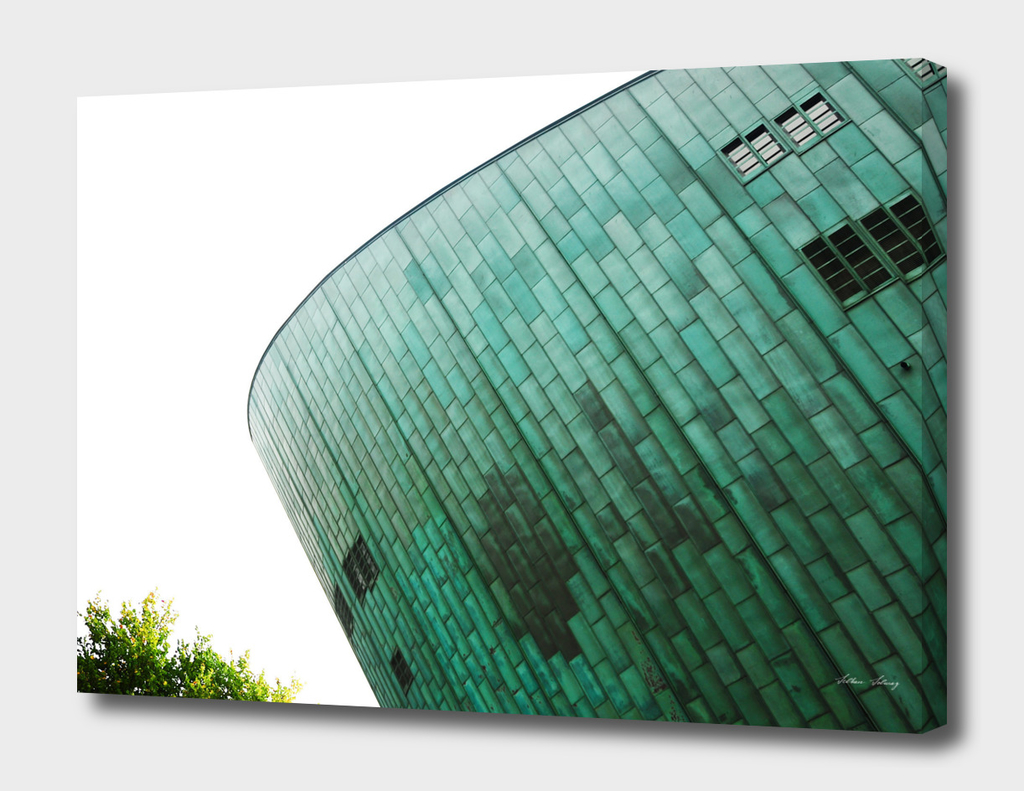 small green // metal facade