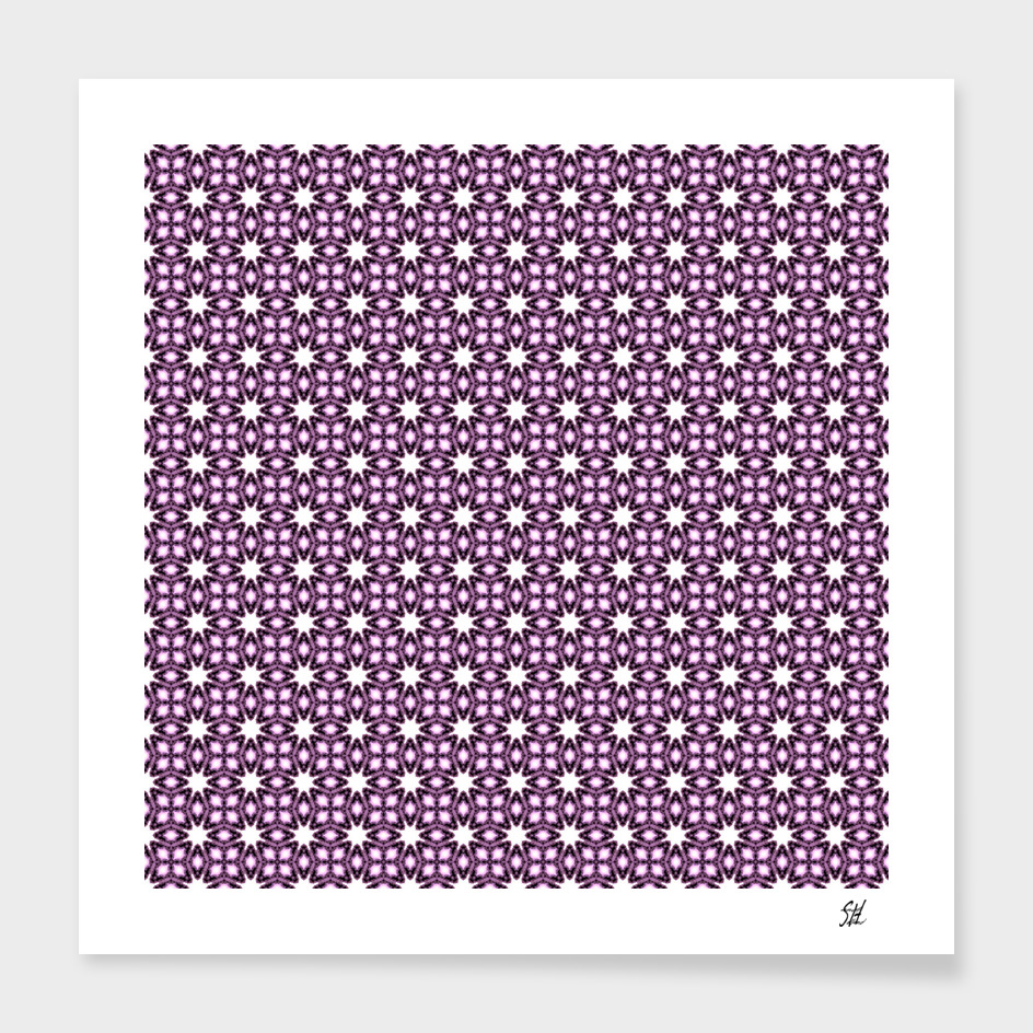 Symmetrical Starburst & Diamond Design In Purple & White