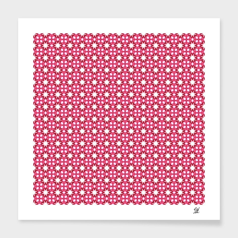Symmetrical Starburst & Diamond Design In Pink & White