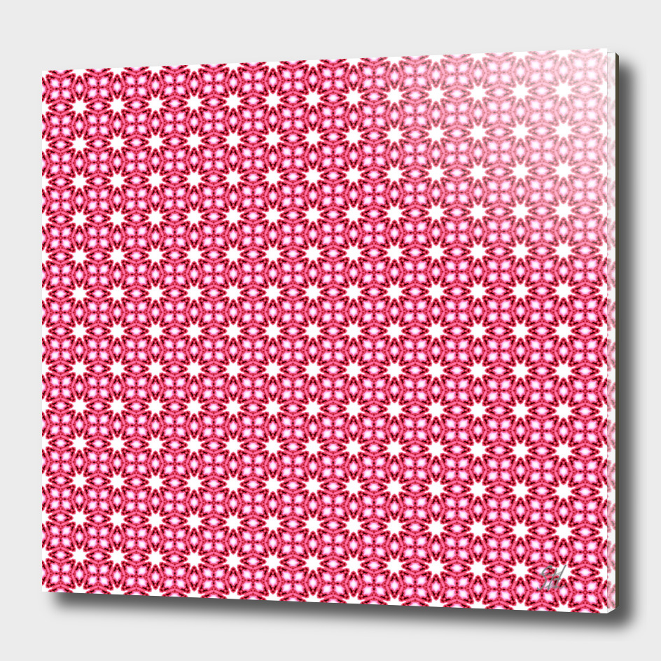 Symmetrical Starburst & Diamond Design In Pink & White