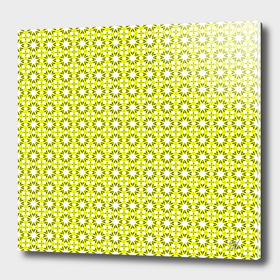 Symmetrical Starburst & Diamond Design In Yellow White Green
