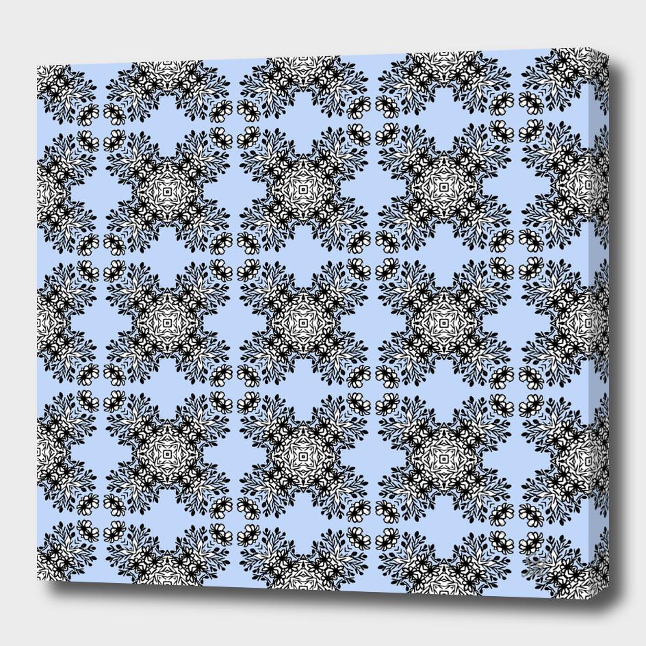 Blue & Black Symmetrical Pattern On White
