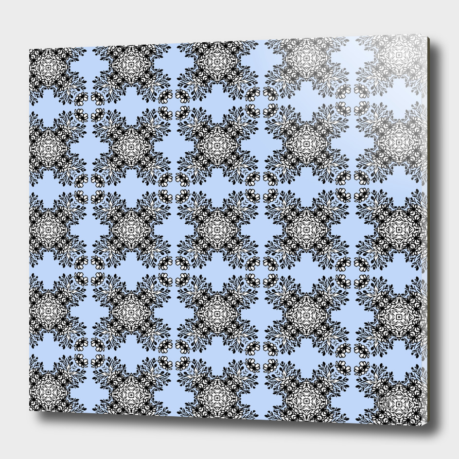 Blue & Black Symmetrical Pattern On White