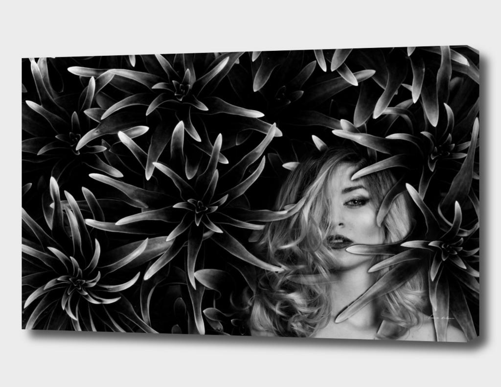 women nature portrait ,black and white