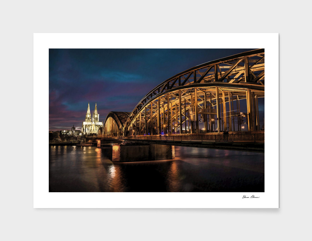 Cathedral and Bridge Over Rhine River Cologne Germany