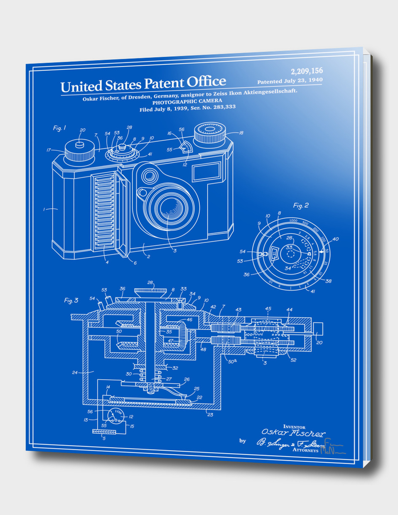 Camera Patent 1938 - Blueprint