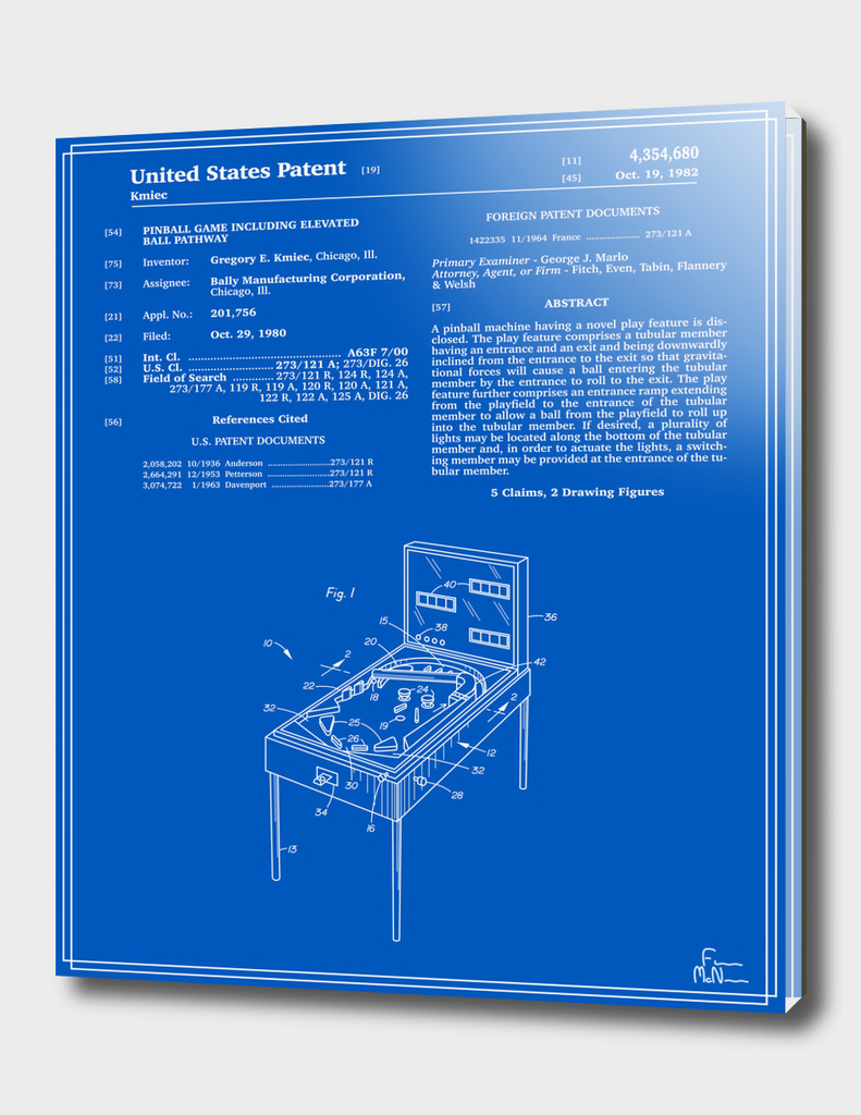Pinball Machine Patent - Blueprint