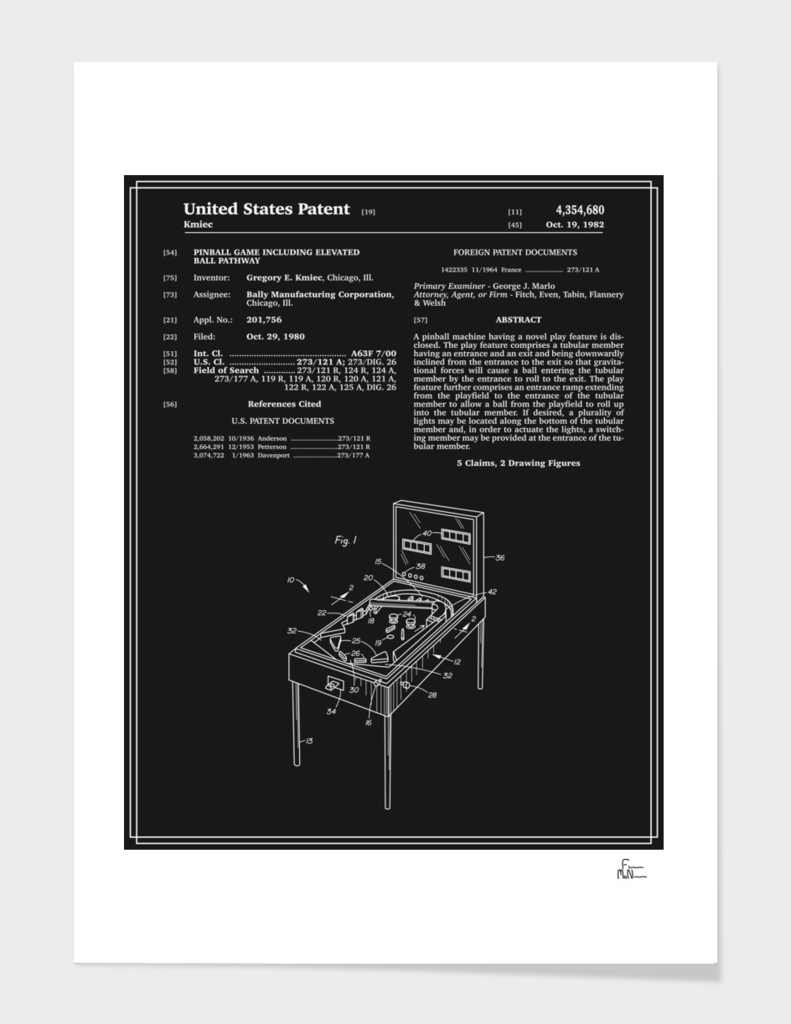 Pinball Machine Patent - Black