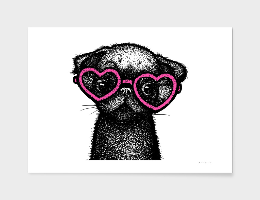 Pug Puppy Portrait in Pink Glasses