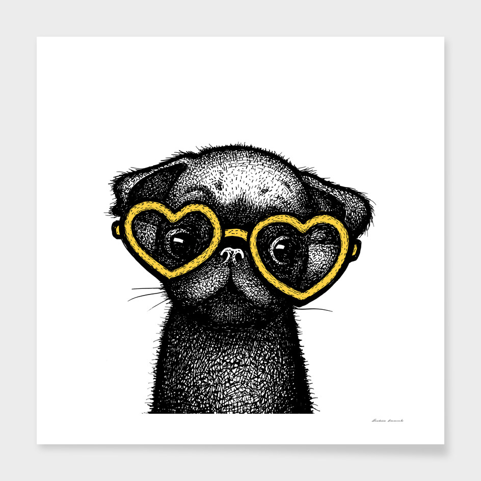 Pug Puppy Portrait in Yellow Glasses