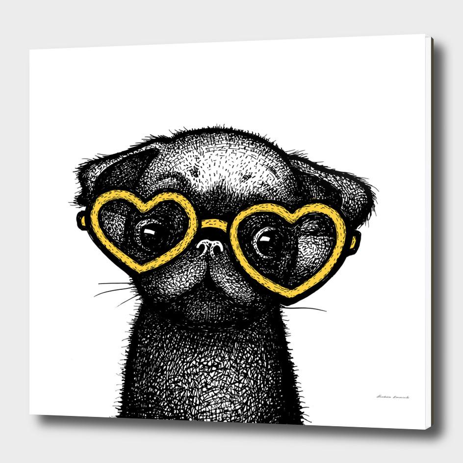 Pug Puppy Portrait in Yellow Glasses