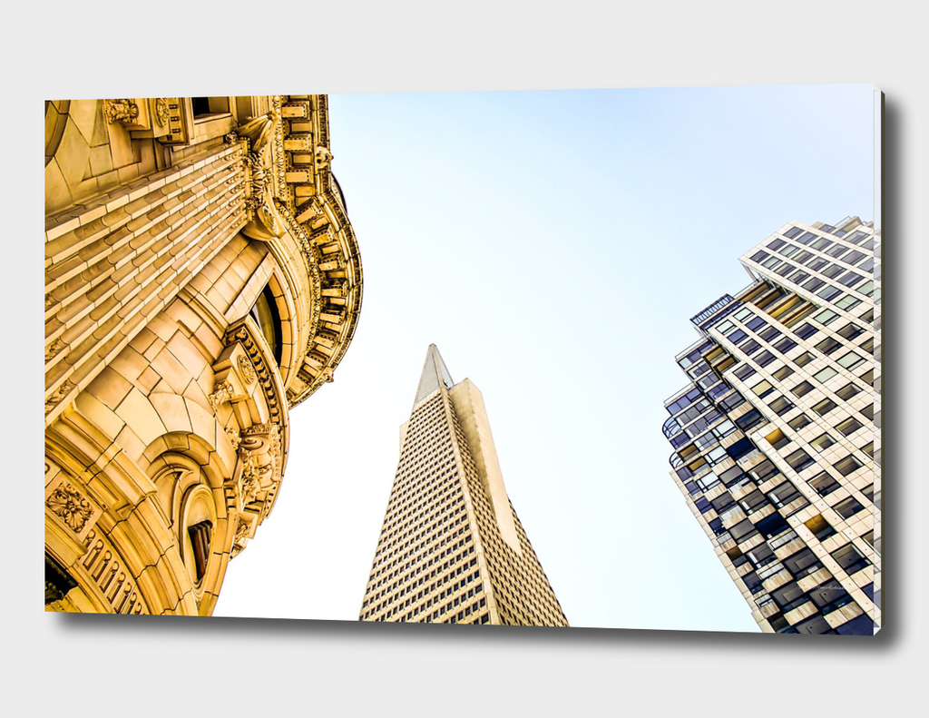 pyramid building and modern building and vintage building
