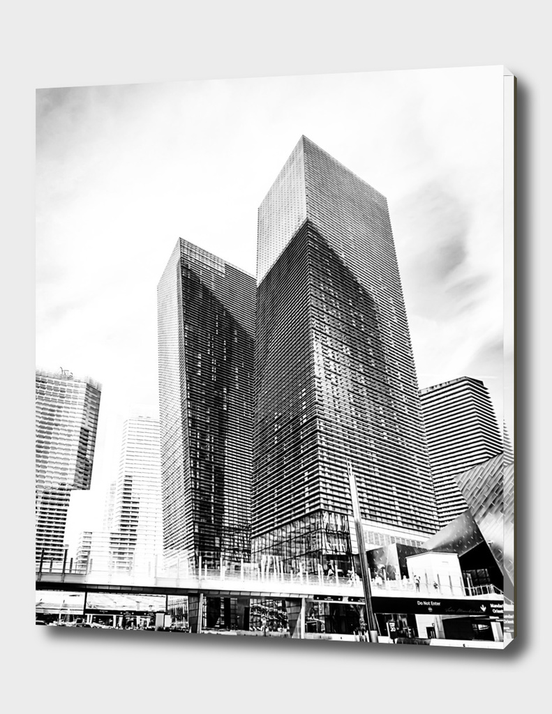 twin buildings at Las Vegas, USA in black and white