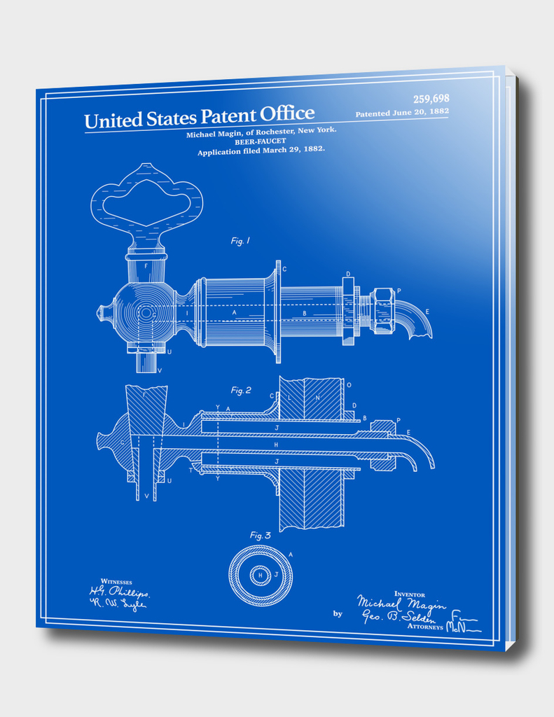 Beer Faucet Patent - Blueprint