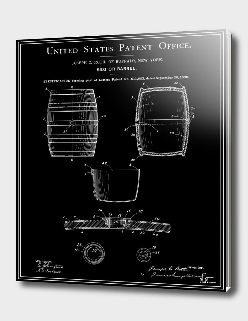 Beer Keg Patent - Black