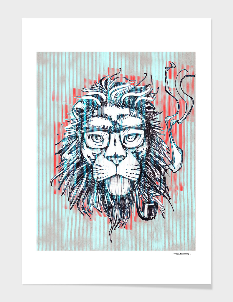 Hipster lion smoking pipe