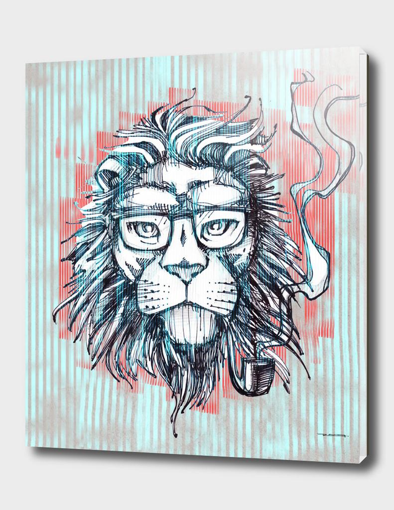Hipster lion smoking pipe