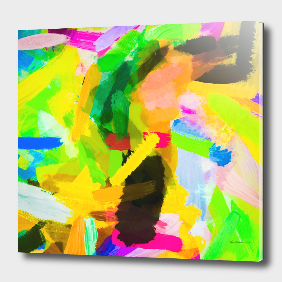 psychedelic splash painting abstract in green yellow pink