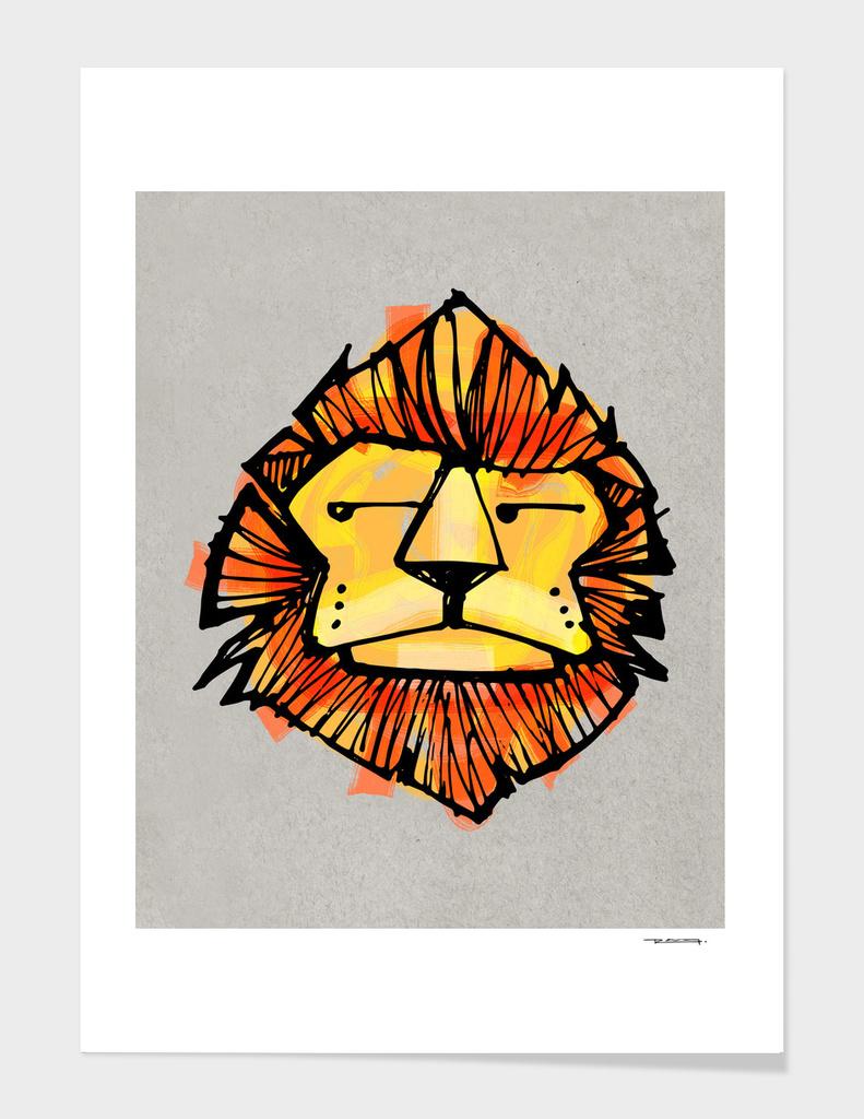 Childish lion illustration or drawing