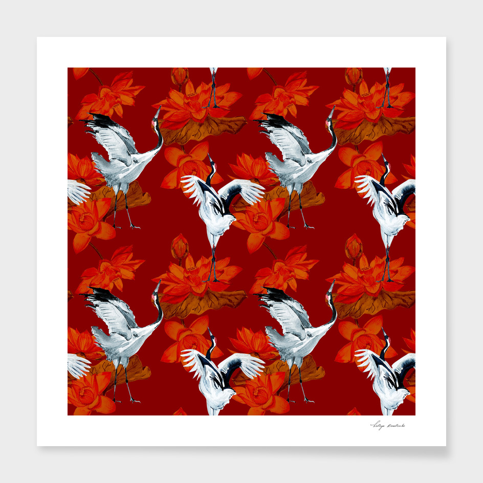 Floral pattern with cranes