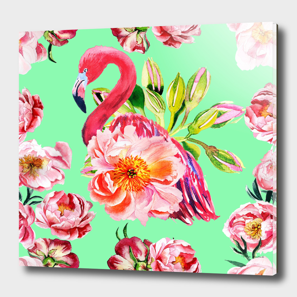 Pink flamingos with peony flowers