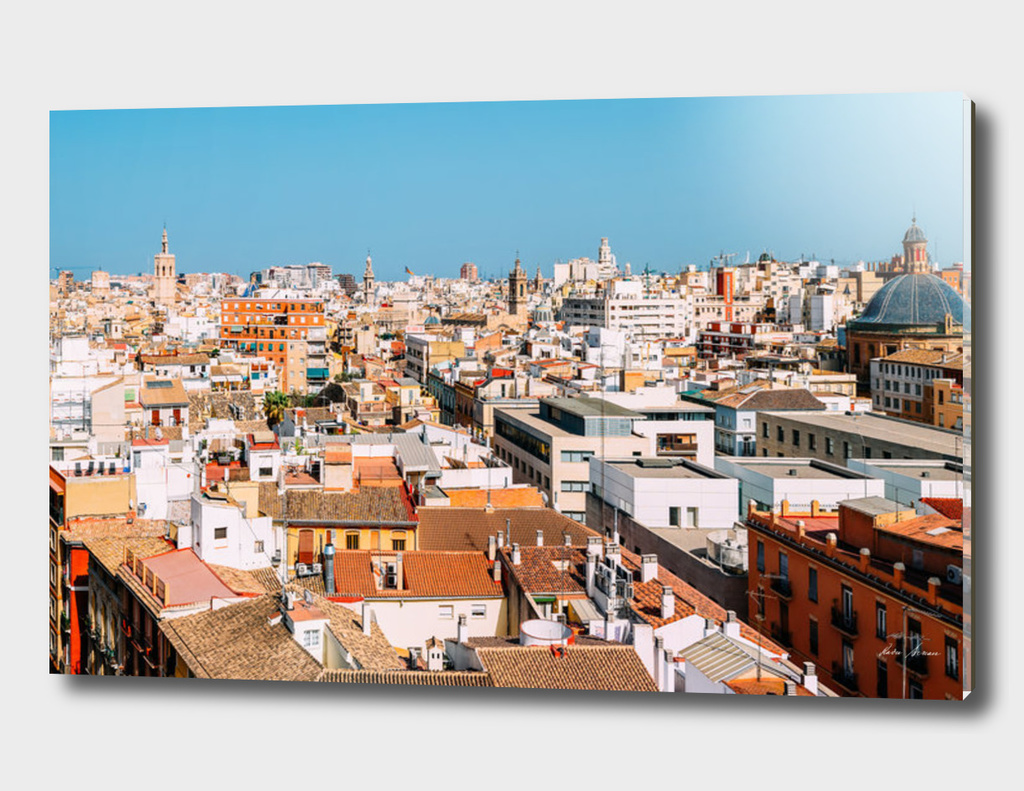 Aerial Panoramic View Of Valencia City In Spain