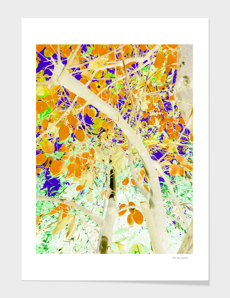 drawing tree with orange leaves and purple background