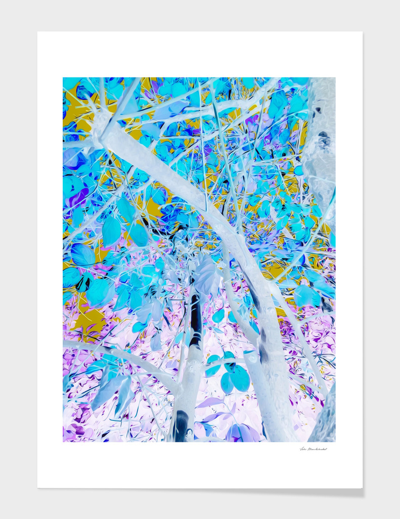 drawing tree with blue leaves and purple background