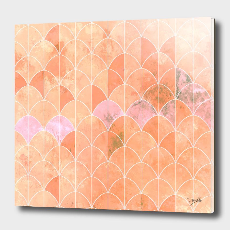 Mermaid scales in peach color