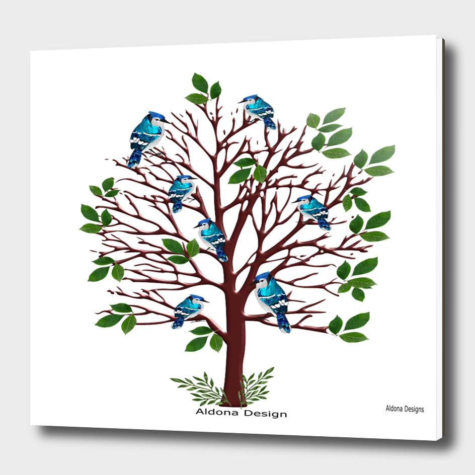 blue jays on a tree