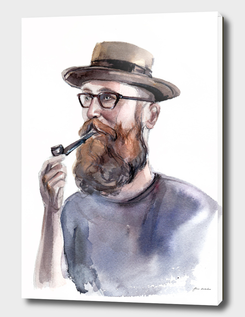 Portrait of a man with a beard and a tobacco pipe