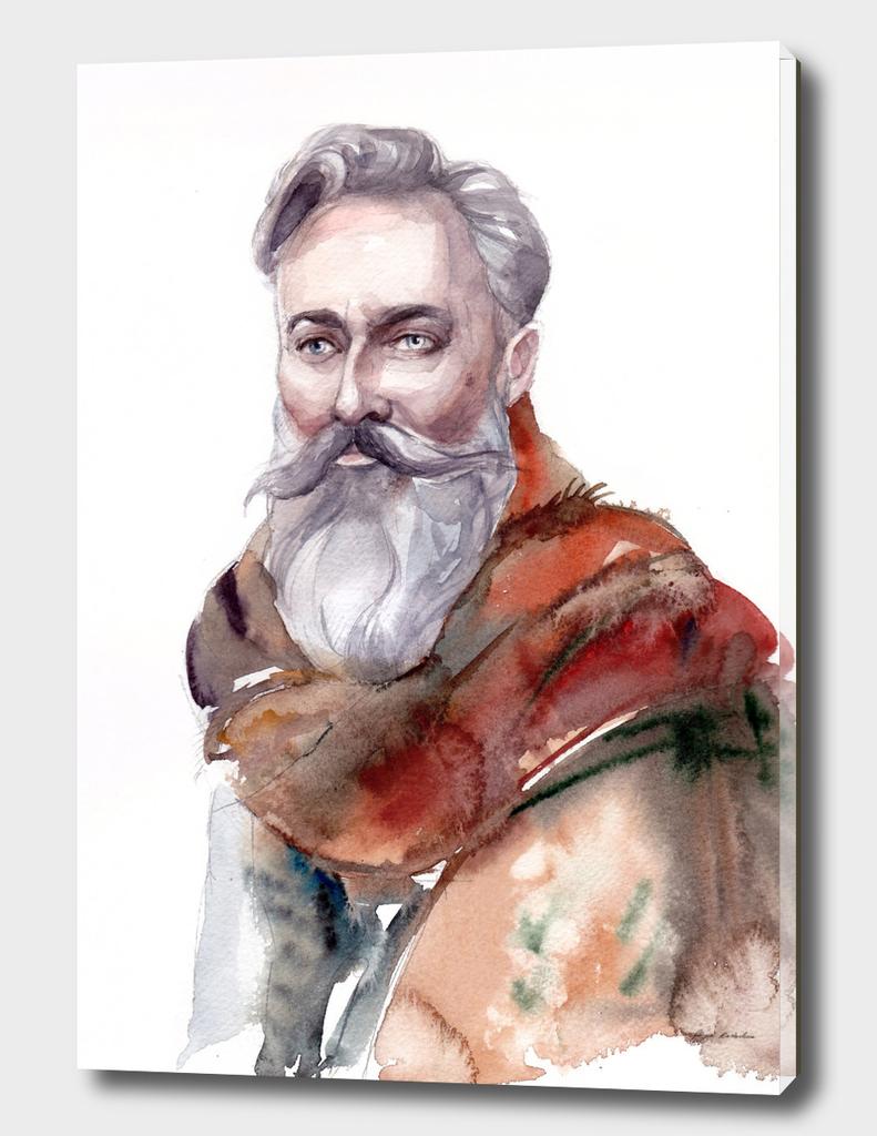 Man's portrait of a bearded man in a stole