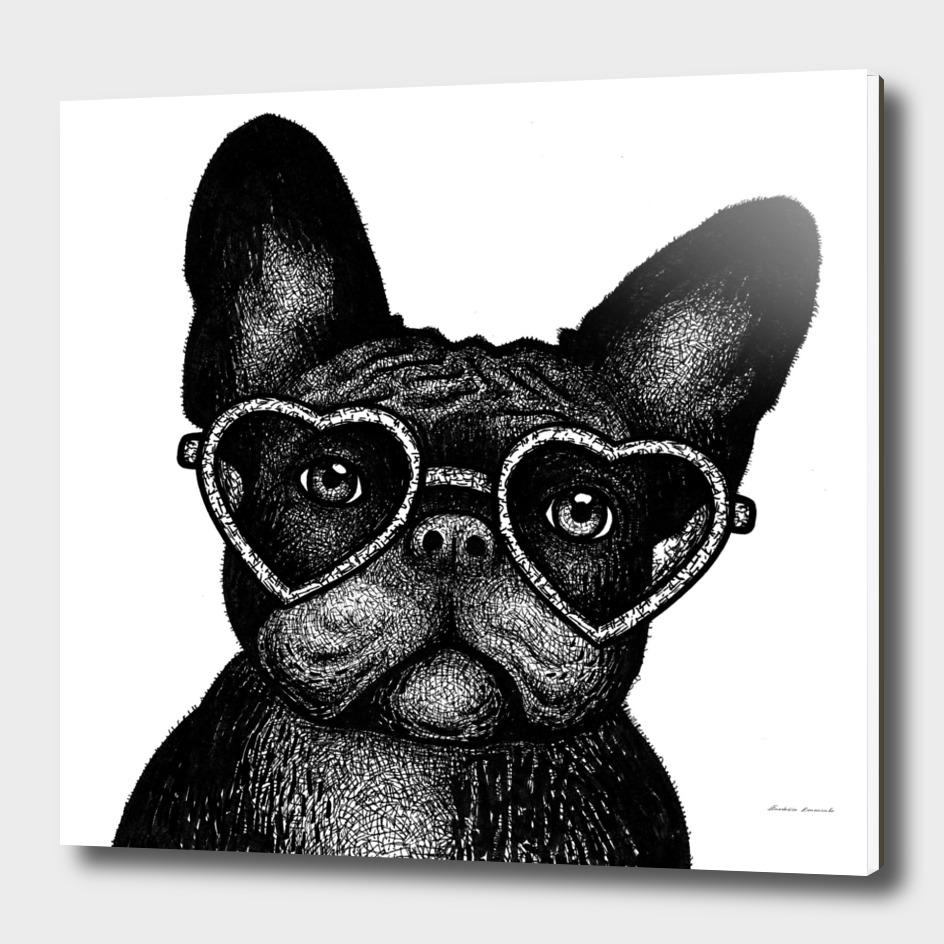 French bulldog portrait in glasses