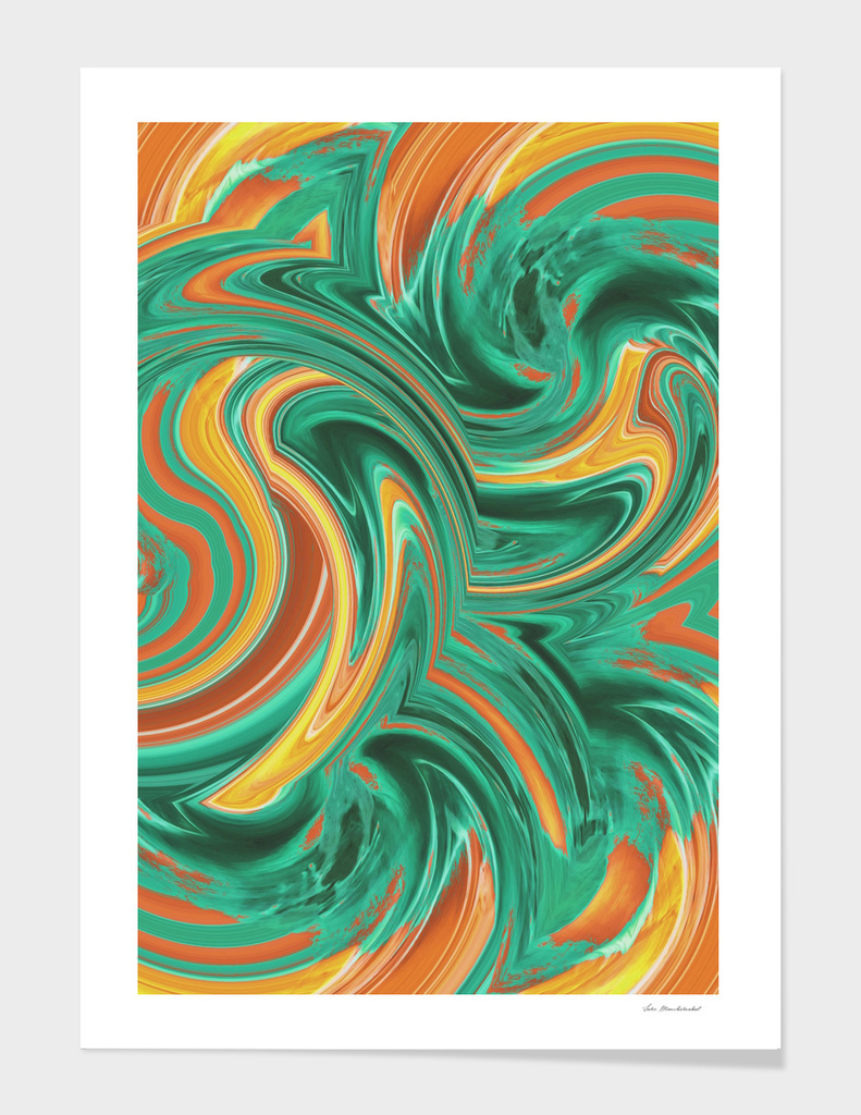 psychedelic graffiti wave pattern abstract in green brown