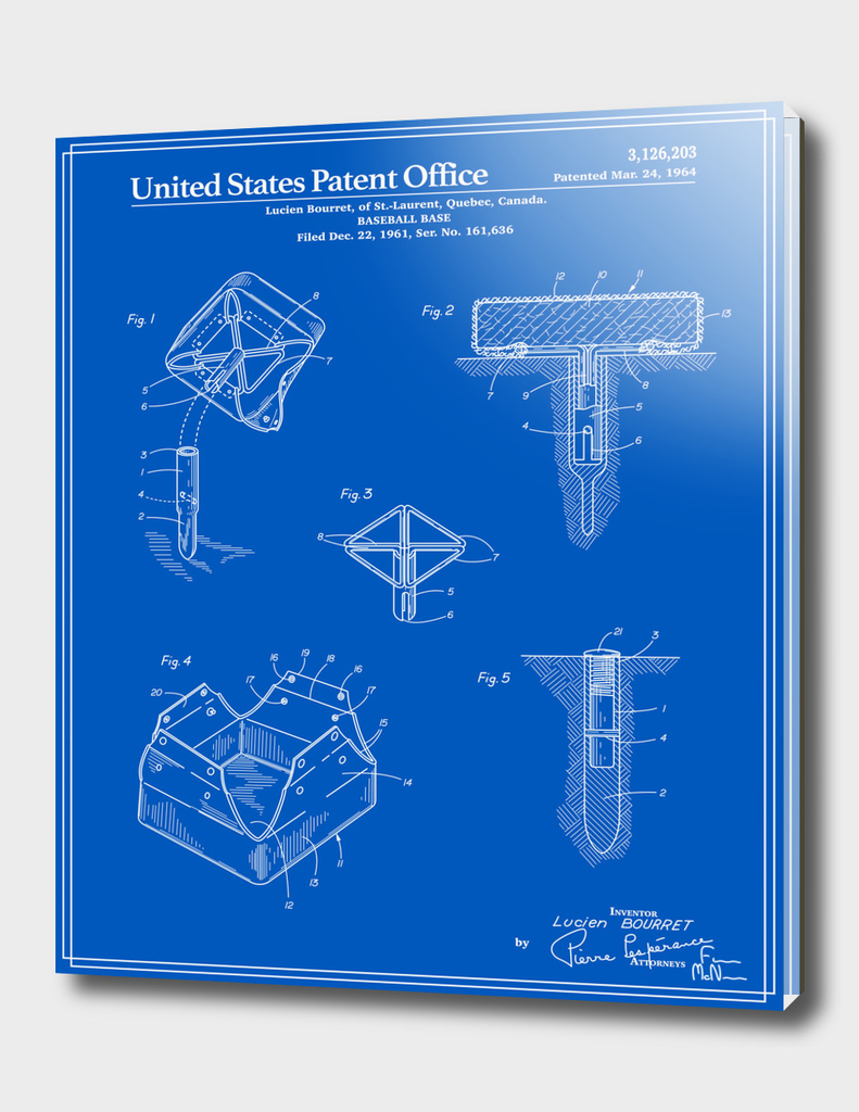 Baseball Base Patent - Blueprint