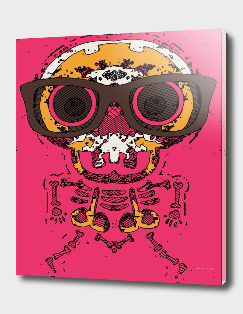 funny skull and bone graffiti drawing in orange and pink