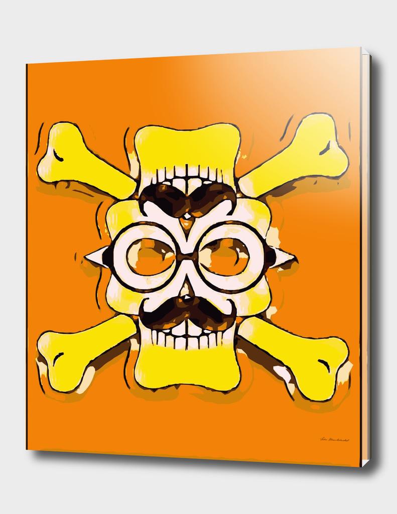 yellow old vintage skull and bone graffiti drawing