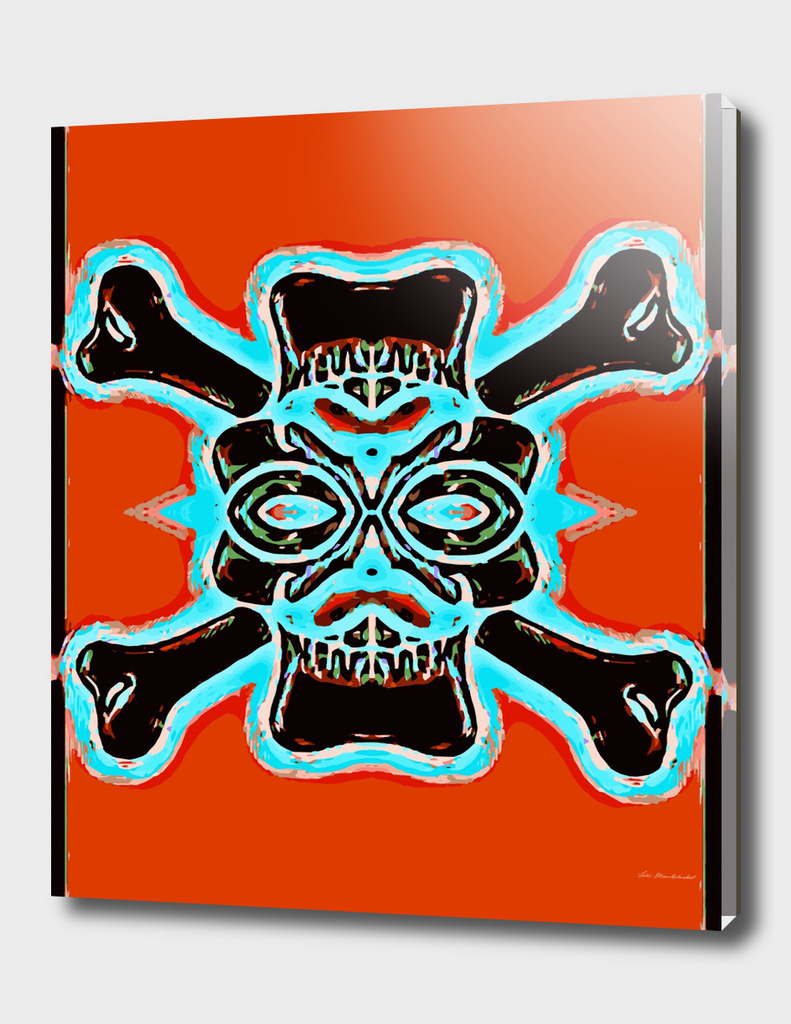 black vintage skull and bone graffiti with red background