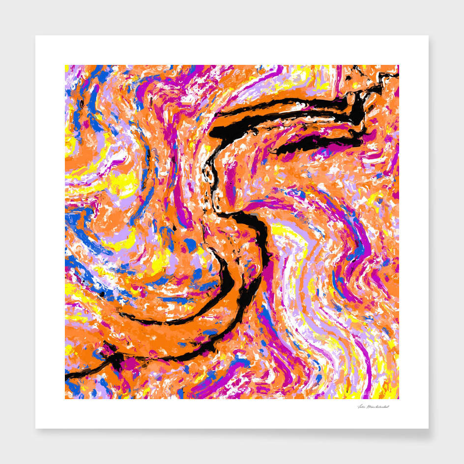 splash painting abstract in pink orange yellow blue